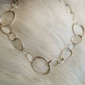 Fossil silver link necklace